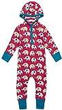 Piccalilly Baby-Strampler mit Kapuze, weicher und bequemer Jersey, Bio-Baumwolle, Unisex, roter Regenbogen-Elefant Gr. 3-4 Jahre, rot