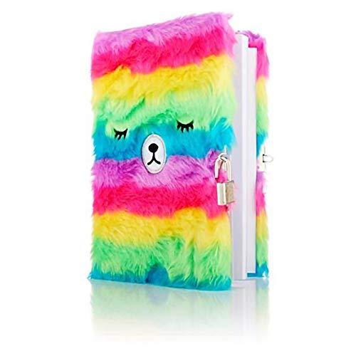 Premier Stationery - Cuaderno con cierre de oso mullido con cierre de papel de arco iris.