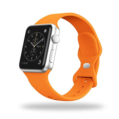 SinceC Sport Bands Compatible with Apple Watch 38/40mm 42/44mm S/M M/L for Women/Men Waterproof Soft Silicone Replacement Strap Accessories for iWatch Series 6/5/4/3/2/1/SE(Orange, 38/40mm M/L)