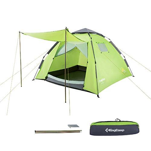 KingCamp - Tienda de campaña impermeable para 3 personas con toldo de puerta para camping, senderismo, festivales (verde)