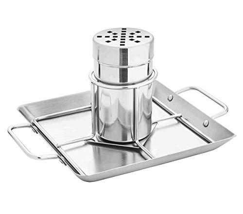 kamelshopping Hähnchenhalter für den Grill und Backofen aus Edelstahl mit Abtropfschale und Flüssigkeitsbehälter zum Aromatisieren