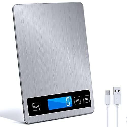 Raniaco Básculas de Cocina - Peso Cocina Digital de Hasta 15 kg y Maravillosa Precisión de Hasta 1g - g/kg/lb: oz/ml/fl'oz Funcionamiento con USB o Batería | Balanza Cocina