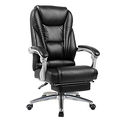 n.g. Living Room Accessories Chair Computer Chair High Back Computer Chair with Footrest Reclining Boss Chair Double Thick Cushion Ergonomic Executive Office Chair for Study Office Black