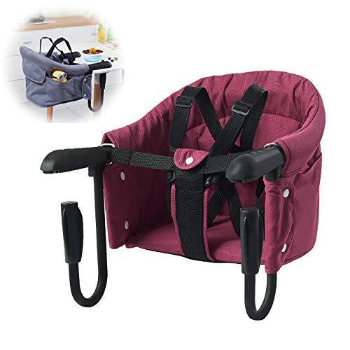 MMYYIP Zusammenklappbar Baby Haken, kann zu Hause und Reisen, tragbarem Hochstuhl Esstisch mit Transporttasche leicht aufgehängt Werden kann auf dem Tisch verwendet Werden,Rot