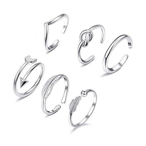 YADOCA 7 Piezas Anillos Mujer Set Anillo Ajustable Infinito Twist Nudo Anillo Vintage Midi Toe Ring para Mujeres Niñas Regalos de Joyería