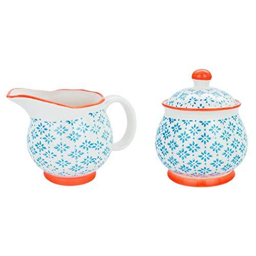 Nicola Spring Gemustertes Milchkanne 300 ml & Zuckerdose/Schüssel Set - Blauer/Oranger Aufdruck