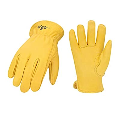 Vgo Unlined Pro Grade Collection Premium Grain Deerskin Work and Driver Gloves (1Pair,Gold,DA9501)