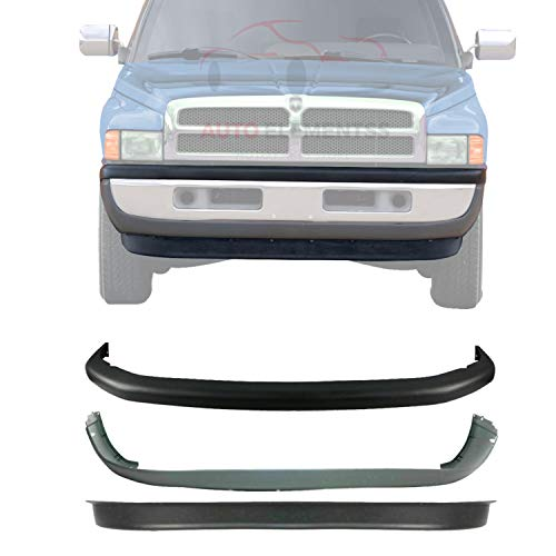New Front Bumper Upper & Lower Cover + Valance Textured Plasic For 1994-2001 Dodge Ram 1500/1994-2002 Ram 2500 3500 Direct Replacement 55076614AC 55076610AB 55274811