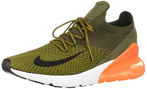 Nike Air Max 270 Flyknit Running Shoe, Olive FlaxBlack Cargo Khaki, 11
