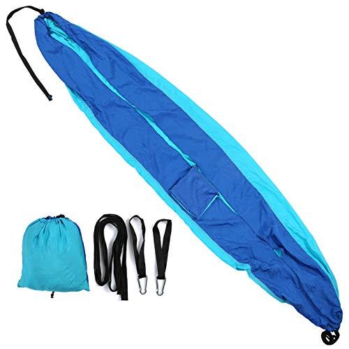zhoul Hamaca Multifuncional Azul de Costura para 2 Personas, Cama oscilante de Nailon para Acampar al Aire Libre con Ganchos para Correas de árbol