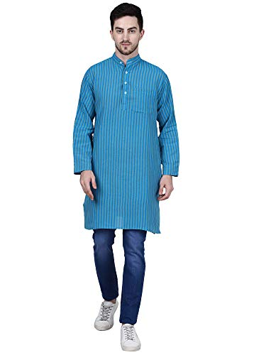 BIBO Handloom Khadi Cotton Traditional Men's Full Sleeve Long Kurta with Stripes Design Regular Fit and Round Collar