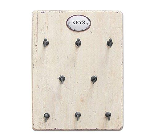 zeitzone Schlüsselbrett Keys für 8 Schlüssel Holz Shabby Chic Antik-Stil Weiß
