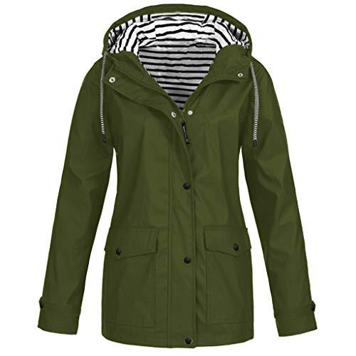 E-Scenery Women Coat Solid Rain Plus Sunscreen Outdoor Sports Hooded Raincoat Windproof Jacket Army Green
