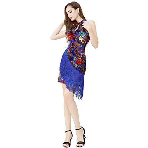 ROYAL SMEELA Latein Tanzen Kleider Damen Elegant Ballsaal Walzer Tanzkleider Chinesischer Stil Klassik Cheongsam Kleider Jahrgang Blumen Samt Fließend Fransen Minikleid