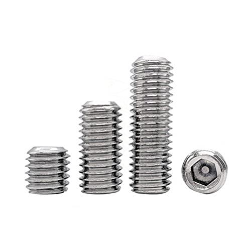 [M2-M16] DIN913 304 Tornillos prisioneros de rosca de acero inoxidable Tornillos de fijación hexagonales de punta plana Tornillos sin cabeza-M8 (5PCS), 45 mm