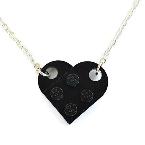 SJP Cufflinks Love Heart Necklace Handmade from Lego Plates (Black) Wedding, Girlfriend, Valentines, Birthday, Ladies Jewellery Gift
