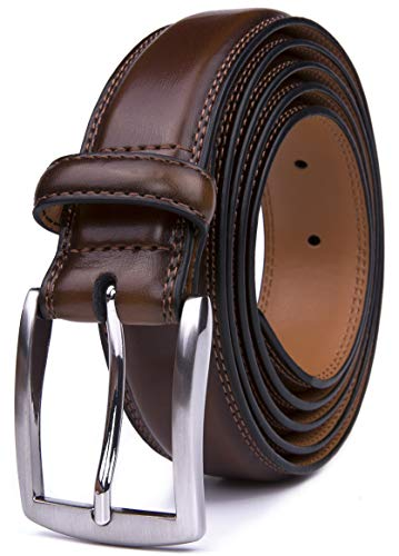 Men's Belt, Classic and Fashion Designs for Work Business and Casual, Regular Big & Tall Sizes Handmade Genuine Leather, Black White Brown Wine Navy Tan (36, Burnt Umber)