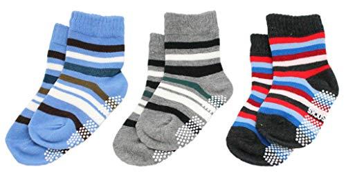 Lot de 3 paires de chaussettes antidérapantes en coton majoritaire pour garçon Motif rayures colorées
