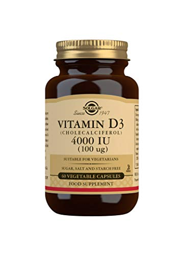 Solgar Vitamina D3 4.000 UI (100 µg) para el mantenimiento de huesos y sistema inmune - 60 cápsulas vegetales