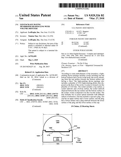 LED package having mushroom-shaped lens with volume diffuser: United States Patent 9929326 (English Edition)