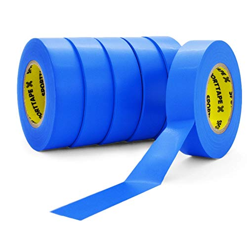 SPORTTAPE Sock Tape - Blau - Packung mit 6 bis 1,9 cm x 20 m - PVC Football Soccer Rugby Boot Tape - Am besten zum Aufrechterhalten von Socken, Schienbeinschonern und Schienbeinschoner