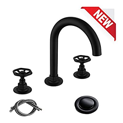 RKF Solid Brass Two Handle Widespread Bathroom Sink Faucet with Metal Pop-up Drain with overflow and CUPC Faucet Supply Hoses,Matte Black,CWF026-MB