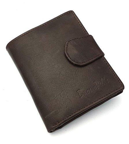 Buono Pelle - Cartera de piel para hombre (plegable), con cierre de botón y bolsillo para monedas, color negro Marrón marrón M