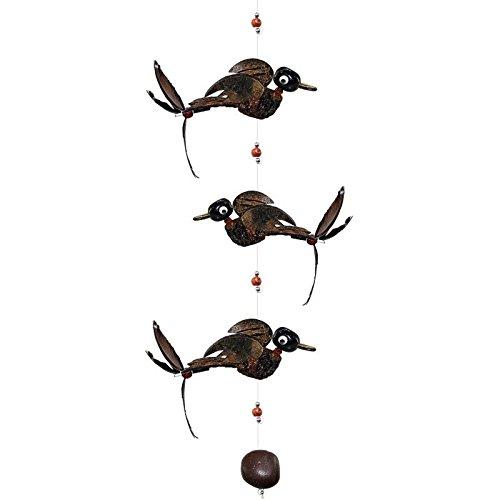 Kunsthandwerk Asien Windspiel Mobile 3 Vögel aus Holz, Länge ca. 94 cm