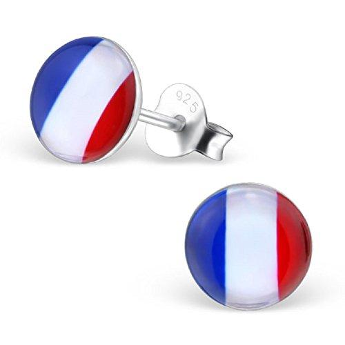 Laimons Damen-Ohrstecker Damenschmuck Frankreich Flagge Design Platte Sterling Silber 925