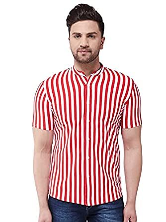 GRITSTONES Men's Cotton Blend Striped Collared Neck Half Sleeve Casual Shirt