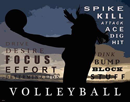 Beach Volleyball Motivational Poster Art Print Girl's Women's Shorts Shoes Clothing 11x14