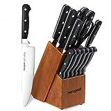 Knife Set, homgeek Kitchen Knife Block Set with Sharpener, 15 Pieces