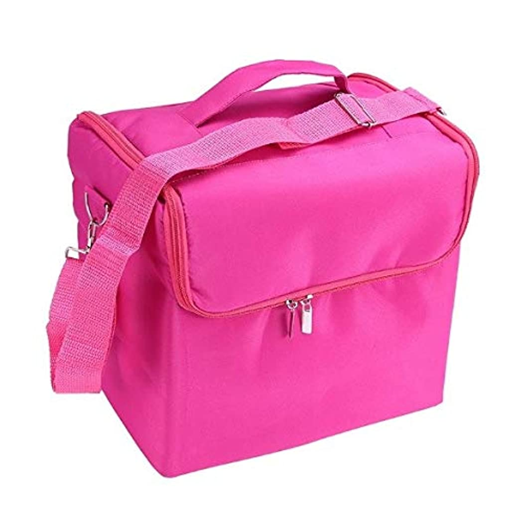 通り抜ける郡ファンブル化粧品ケース、ローズレッド多層化粧品バッグ、ポータブル旅行多機能化粧品ケース、美容ネイルジュエリー収納ボックス