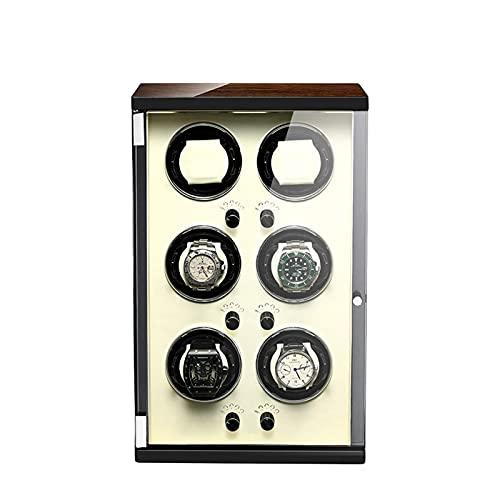 WBJLG Caricatore per Orologio per 6 Orologi Automatici Guscio in Legno Finitura Pianoforte con Motore Super Silenzioso 5 modalità Disponibili con Memory Foam Cuscini per Orologi Scatola portaogget