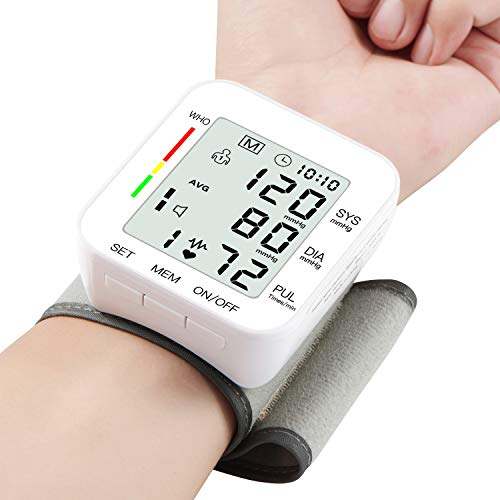 "MMIZOO Blood Pressure Monitor Large LCD Display & Adjustable Wrist Cuff (5.31""-7.68"") Automatic Accurate 90 * 2 Reading Memory for Home Use (MZ1681)"