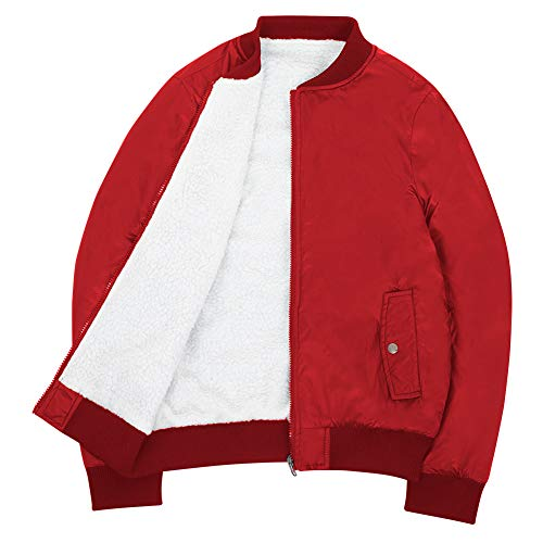 Sunday Rose Women Reversible Bomber Jacket Sherpa Lined Winter Flight Jackets-Red,X-Large