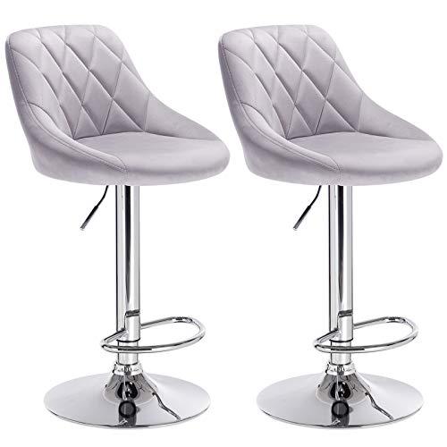 WOLTU BH138hgr-2 Barhocker Tresenhocker, gut gepolsterte Sitzfläche aus Samt, Höhenverstellbar, Drehbar, 2 x Hocker, Hellgrau