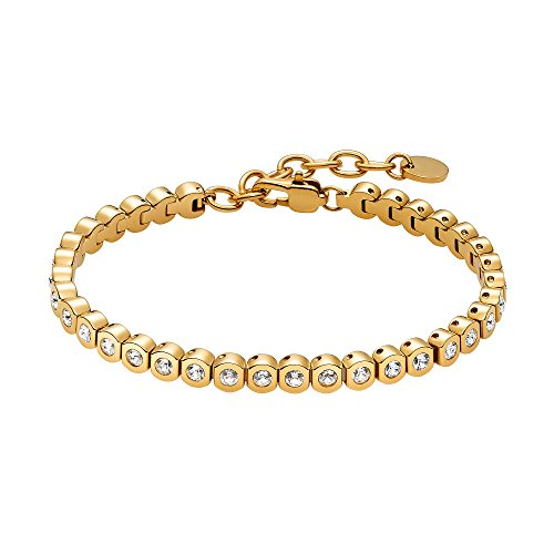 Heideman Armband Damen Amilla II aus Edelstahl Gold farbend matt Tennisarmband mit Swarovski Steinen Weiss mit Verlängerung Armkette Frauen