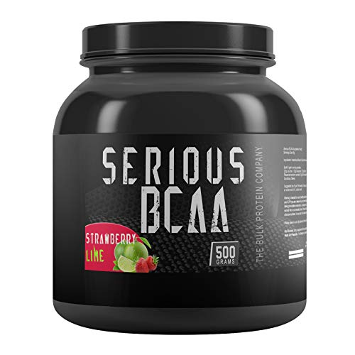 The Bulk Protein Company Serious BCAA Powder 500g, 100 Servings Pre Workout - Helps Build Muscle - Strawberry Lime