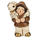 THUN® - Pastore con Pecora - Versione Bianca - Statuine Presepe Classico - Ceramica - I Classici