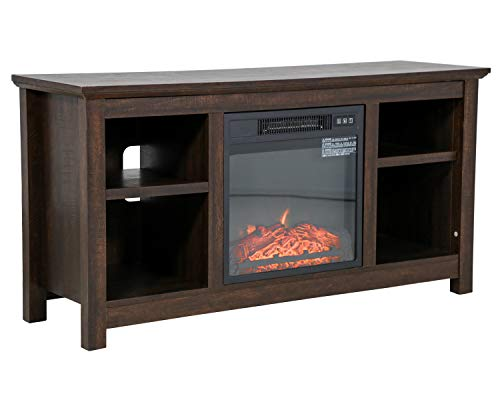 FDW Electric Fireplace TV Stand Wood Mantel for TV Up to 52' Fireplace Television Stand Console with Media Shelves, Media Entertainment Center Fireplace Console Cabinet,750W-1400W, Espresso