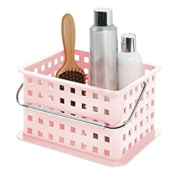 iDesign Spa Plastic Storage Organizer Basket with Handle for Bathroom Health Cosmetics Hair Supplies and Beauty Products 9.25  x 7  x 5  - Blush Pink