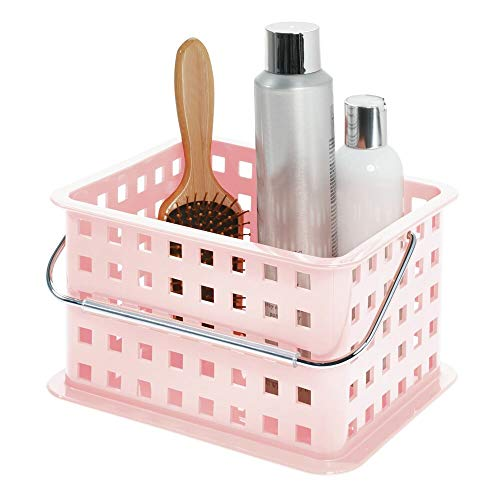 iDesign Spa Plastic Storage Organizer Basket with Handle for Bathroom, Health, Cosmetics, Hair Supplies and Beauty Products, 9.25 x 7 x 5 - Blush Pink