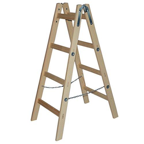 Systafex® Leiter Doppelstufenleiter Malerleiter Elektrikerleiter Stehleiter Holzleiter (4 Stufen) 1,25m