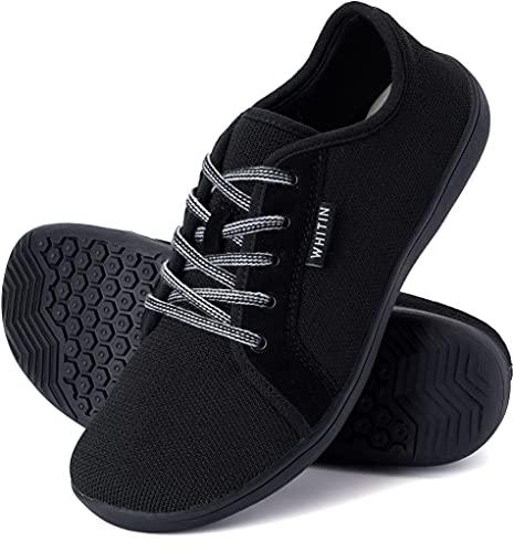 WHITIN Zapatillas Minimalista de Barefoot Trail Running Deportes Deportivas para Hombre Mujer Tejer Zapato Descalzo Correr Sneakers Fitness Gimnasio Calzado Asfalto Tenis Negro 41