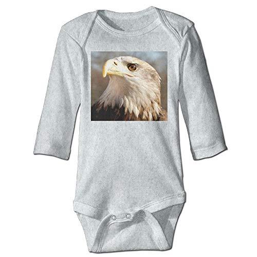 Body de manga larga para beb con diseo de guila calva y perfil majestuoso de manga larga para beb, traje de sol de color ceniza