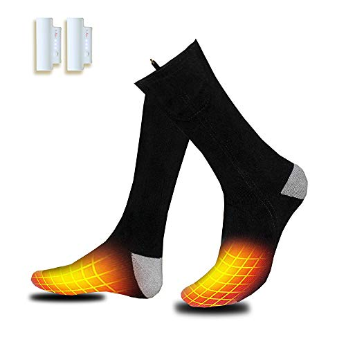 Heated Socks, 2 Pairs Electrice Sock Footwear with Pair Rehargeable Lithium Battery Cotton Heated Socks Keep Forefoot and Toes Warm Heating Times Last 5-9 Hours Suitable for Winter Outdoor Hunting