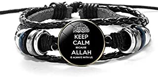SOLDOUT™ Trendy Multilayer Bangle Religious Faith Muslim Beads Woman Arabic Jewelry Charms Men Leather Braided Bracelet Is...