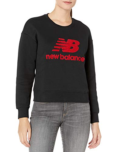 New Balance Stadium - Sudadera de Cuello Redondo para Mujer, Color Negro, Talla M