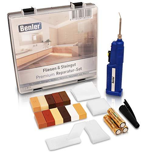 BENLER® NEU! - Fliesen-Reparatur-Set mit 2in1 Wachsschmelzer für Fliesen, Keramik und Steingut - Brauntöne, auch für Laminat, Parkett und Vinylboden geeignet - 19-teiliges Reparaturset